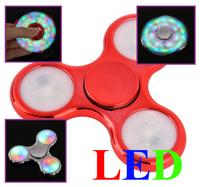 Спиннер, 3 спиц, 1 подш., пластик, светодиодный, 7*7 см, красный