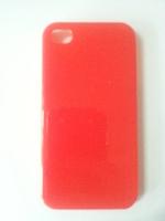 Чехол-накладка на Apple iPhone 4/4S, пластик, глянцевый, красный