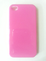 Чехол-накладка на Apple iPhone 4/4S, пластик, глянцевый, ярко-розовый