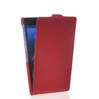 Флип-кейс на Sony Xperia Z1 кожа, с язычком, карбон, красный