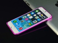 Бампер на Apple iPhone 6/6S, алюминий, силикон, розовый