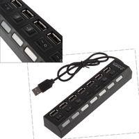USB-хаб 2.0, 7 портов, с откл.портов, черный