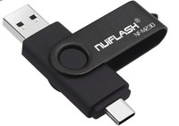 Память USB 2.0 Flash, 32GB, Nuiflash, OTG Type-C, черный