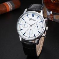 Часы наручные Geneva, ц.белый, р.черный, кожа Д02329
