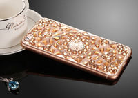 Чехол-накладка на Apple iPhone 7/8, силикон, кристалы, золотистый