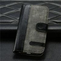 Чехол-книжка на Apple iPhone 4/4S, кожа, текстиль, магнитный с язычком, черный