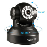 IP-камера Wanscam HW0024, 720p, Wi-Fi, LAN, microSD, вращение 360 гр, ночной режим, черный
