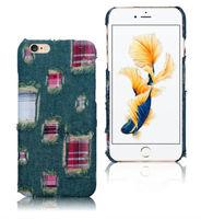 Чехол-накладка на Apple iPhone 6/6S Plus, пластик, ткань, джинс, зеленый