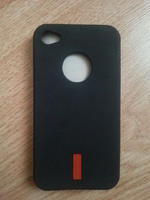 Чехол-накладка на Apple iPhone 4/4S, силикон, red, черный
