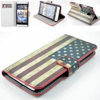 Чехол-книжка на HTC One mini (M4 601e) кожа, магнитный с язычком, America flag