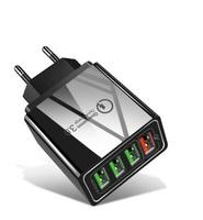 Сетевое зарядное устройство USB, Lamorniea, 9А, 4xUSB, QC3.0, черный