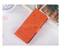 Чехол-книжка на Apple iPhone 4/4S, полиуретан, вырез.узор, оранжевый