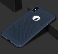 Чехол-накладка на Apple iPhone 7/8, пластик, перфорация, синий