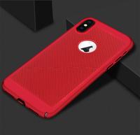 Чехол-накладка на Apple iPhone X/Xs, пластик, перфорация, красный