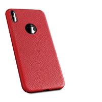 Чехол-накладка на Apple iPhone X/Xs, силикон, под кожу, с вырезом, красный