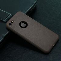 Чехол-накладка на Apple iPhone 7/8 Plus, силикон, под кожу, с вырезом, коричневый