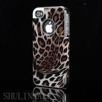 Чехол-накладка на Apple iPhone 4/4S, пластик, кожа, леопард