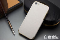 Чехол-накладка на Apple iPhone 5/5S, пластик, кожа, бел/зол