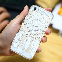 Чехол-накладка на Apple iPhone 5/5S, пластик, орнамент, прозрачный