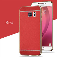 Чехол-накладка на Samsung A3 (A320) (2017) силикон, под кожу, красный