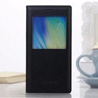 Чехол-книжка на Samsung A7 кожа, оригинал, S-view, черный