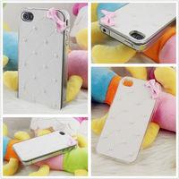 Чехол-накладка на Apple iPhone 4/4S, пластик, бантик, белый