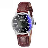 Часы наручные Yazole, ц.синий, р.коричневый, кожа Д01253