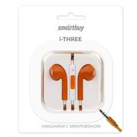 Гарнитура проводная, 3,5мм, Smart Buy i-Three, вакуумная, 1.5 м, оранжевый