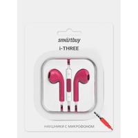 Гарнитура проводная, 3,5мм, Smart Buy i-Three, вакуумная, 1.5 м, розовый