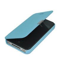 Чехол-книжка на Apple iPhone 4/4S, полиуретан, магнитный, голубой