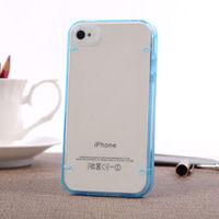 Чехол-накладка на Apple iPhone 4/4S, пластик, голубой, флюорисцентный