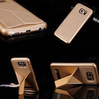 Чехол-накладка на Samsung S6 пластик, подставка, золотистый