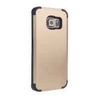 Чехол-накладка на Samsung S6 пластик, силикон, противоударный, золотистый