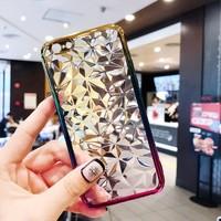 Чехол-накладка на Apple iPhone 7/8, силикон, 3D, кристаллы, полупрозраный, золотисто-розовый