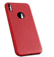 Чехол-накладка на Apple iPhone XS Max, силикон, под кожу, с вырезом, красный