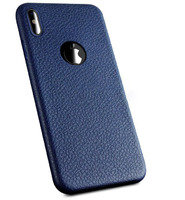 Чехол-накладка на Apple iPhone XS Max, силикон, под кожу, с вырезом, синий