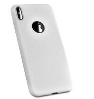 Чехол-накладка на Apple iPhone XS Max, силикон, под кожу, с вырезом, белый