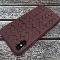 Чехол-накладка на Apple iPhone XS Max, силикон, под кожу, плетеный, коричневый