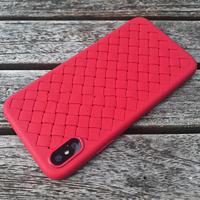 Чехол-накладка на Apple iPhone XS Max, силикон, под кожу, плетеный, красный