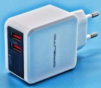Сетевое зарядное устройство USB, Орбита OT-APU44, 2.4A, 2xUSB, вольтметр, белый