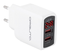 Сетевое зарядное устройство USB, Орбита OT-APU45, 2.1A, 2xUSB, вольтметр, белый
