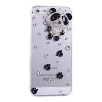 Чехол-накладка на Apple iPhone 6/6S, пластик, 3D, стразы, панда, прозрачный