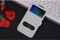 Чехол-книжка на Samsung E7 полиуретан, S-view, белый