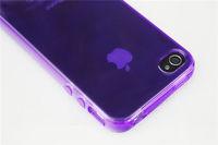 Чехол-накладка на Apple iPhone 4/4S, силикон, глянцевый, прозрачный, фиолетовый