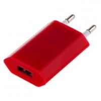 Сетевое зарядное устройство USB, Noname, 1А, плоское, красный