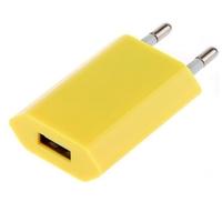 Сетевое зарядное устройство USB, Noname, 1А, плоское, желтый