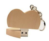 Память USB 2.0 Flash, 32GB, BiNFUL, дерево, wood №7 heart, mapple wood