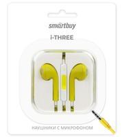 Гарнитура проводная, 3,5мм, Smart Buy i-Three, вакуумная, 1.5 м, желтый