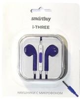 Гарнитура проводная, 3,5мм, Smart Buy i-Three, вакуумная, 1.5 м, фиолетовый