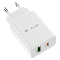 Сетевое зарядное устройство USB, Borofone BA56A Lavida, 3A, 1xUSB, PD, QC3.0, белый
